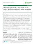 "báo cáo sinh học:""  ""More money for health - more health for the money"": a human resources for health perspective"""