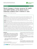 "báo cáo sinh học:"" Recent changes in human resources for health and health facilities at the district level in Indonesia: evidence from 3 districts in Java"""