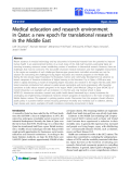 "Báo cáo sinh học: "" Medical education and research environment in Qatar: a new epoch for translational research in the Middle East"""