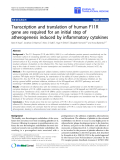 """Báo cáo sinh học: """" Transcription and translation of human F11R gene are required for an initial step of atherogenesis induced by inflammatory cytokines"""""""