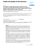 "báo cáo hóa học: ""  Correlations among improvements in urgency urinary incontinence, health-related quality of life, and perception of bladder-related problems in incontinent subjects with overactive bladder treated with tolterodine or placebo"""