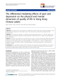 "báo cáo hóa học: "" e differential mediating effects of pain and depression on the physical and mental dimension of quality of life in Hong Kong Chinese adults"""