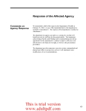 Response of the Affected Agency Comments on Agency Response We transmitted a draft of this report