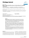 """Báo cáo sinh học: """" Effect of oligonucleotide primers in determining viral variability within hosts"""""""