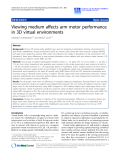 "Báo cáo hóa học: ""  Viewing medium affects arm motor performance in 3D virtual environments"""
