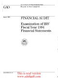 FINANCIAL AUDIT Examination of IRS' Fiscal Year 1994 Financial Statements_part1