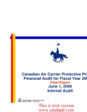 Canadian Air Carrier Protective Program Financial Audit for Fiscal Year 2005-06 Final Report