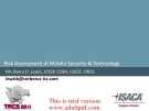 Risk Assessment of Mobile Security & Technology_part1