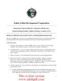 Fallon Tribal Development Corporation Request for Proposal #2011-04 – Financial Audit Services Proposal Submission Deadline: 5:00pm on Thursday, November 10, 2011