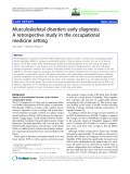 "báo cáo hóa học: "" Musculoskeletal disorders early diagnosis: A retrospective study in the occupational medicine setting"""