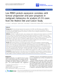 "báo cáo hóa học:"" Low RBM3 protein expression correlates with tumour progression and poor prognosis in malignant melanoma: An analysis of 215 cases from the Malmö Diet and Cancer Study"""