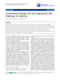 """báo cáo hóa học:"""" Combination therapy: the next opportunity and challenge of medicine"""""""