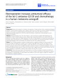 """báo cáo hóa học:""""  Electroporation increases antitumoral efficacy of the bcl-2 antisense G3139 and chemotherapy in a human melanoma xenograft"""""""