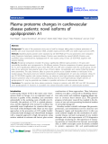 "báo cáo hóa học:"" Plasma proteome changes in cardiovascular disease patients: novel isoforms of apolipoprotein A1"""