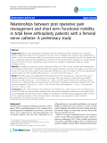 "báo cáo hóa học:""  Relationships between post operative pain management and short term functional mobility in total knee arthroplasty patients with a femoral nerve catheter: A preliminary study"""