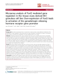 "báo cáo hóa học:""  Microarray analysis of Foxl2 mediated gene regulation in the mouse ovary derived KK1 granulosa cell line: Over-expression of Foxl2 leads to activation of the gonadotropin releasing hormone receptor gene promoter"""
