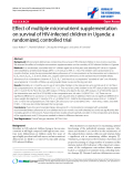 "báo cáo hóa học:""  Effect of multiple micronutrient supplementation on survival of HIV-infected children in Uganda: a randomized, controlled trial"""