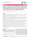 """báo cáo hóa học:""""  Nutrition outcomes of HIV-infected malnourished adults treated with ready-to-use therapeutic food in sub-Saharan Africa: a longitudinal study"""""""