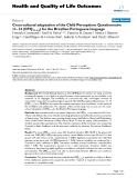 "báo cáo hóa học:"" Cross-cultural adaptation of the Child Perceptions Questionnaire 11–14 (CPQ11–14) for the Brazilian Portuguese language"""