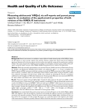 """báo cáo hóa học:"""" Measuring adolescents' HRQoL via self reports and parent proxy reports: an evaluation of the psychometric properties of both versions of the KINDL-R instrument"""""""