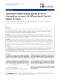 """báo cáo hóa học:""""Decreased health-related quality of life in disease-free survivors of differentiated thyroid cancer in Korea"""""""