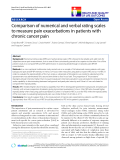 """báo cáo hóa học:"""" Comparison of numerical and verbal rating scales to measure pain exacerbations in patients with chronic cancer pain"""""""
