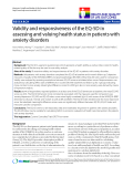 """báo cáo hóa học:"""" Validity and responsiveness of the EQ-5D in assessing and valuing health status in patients with anxiety disorders"""""""