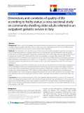 "báo cáo hóa học:"" Dimensions and correlates of quality of life according to frailty status: a cross-sectional study on community-dwelling older adults referred to an outpatient geriatric service in Italy"""