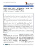"báo cáo hóa học:"" Cross-cultural validity of four quality of life scales in persons with spinal cord injury"""