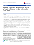 "báo cáo hóa học:""  Reliability and validity of a single item measure of quality of life scale for adult patients with cystic fibrosis"""