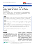 "báo cáo hóa học:"" Psychometric validation of the Portuguese version of the Neuropathic Pain Symptoms Inventory"""
