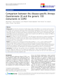"""báo cáo hóa học:""""  Comparison between the disease-specific Airways Questionnaire 20 and the generic 15D instruments in COPD"""""""