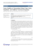 """Báo cáo hóa học: """"   Fuzzy Stability of Generalized Mixed Type Cubic, Quadratic, and Additive Functional Equation"""""""
