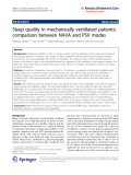 "Báo cáo hóa học: "" Sleep quality in mechanically ventilated patients: comparison between NAVA and PSV modes"""