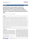 """Báo cáo hóa học: """" Feed-forward neural network assisted by discriminant analysis for the spectroscopic discriminantion of cracked spores Ganoderma lucidum: A prospective biotechnology production tool"""""""