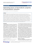 """Báo cáo hóa học: """"  Determining factors of thermoelectric properties of semiconductor nanowires"""""""