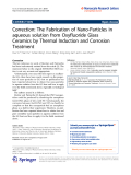 "Báo cáo hóa học: ""  Correction: The Fabrication of Nano-Particles in aqueous solution from Oxyfluoride Glass Ceramics by Thermal Induction and Corrosion Treatment"""