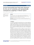 "Báo cáo hóa học: ""  On the Krasnoselskii-type fixed point theorems for the sum of continuous and asymptotically nonexpansive mappings in Banach spaces"""
