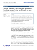 """Báo cáo hóa học: """"  Abstract fractional integro-differential equations involving nonlocal initial conditions in a-norm"""""""