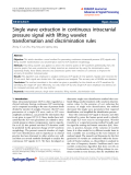 """Báo cáo hóa học: """" Single wave extraction in continuous intracranial pressure signal with lifting wavelet transformation and discrimination rules"""""""