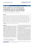 "báo cáo hóa học: ""  Facile synthesis of concentrated gold nanoparticles with low size-distribution in water: temperature and pH controls"""