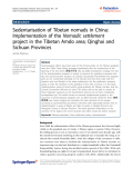 "Báo cáo hóa học: "" Sedentarisation of Tibetan nomads in China: Implementation of the Nomadic settlement project in the Tibetan Amdo area; Qinghai and Sichuan Provinces"""