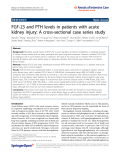 "Báo cáo hóa học: "" FGF-23 and PTH levels in patients with acute kidney injury: A cross-sectional case series study"""