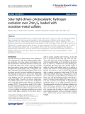 "Báo cáo hóa học: "" Solar light-driven photocatalytic hydrogen evolution over ZnIn2S4 loaded with transition-metal sulfides"""