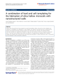 "Báo cáo hóa học: "" A combination of hard and soft templating for the fabrication of silica hollow microcoils with nanostructured walls"""