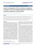 "Báo cáo hóa học: ""  Lateral homogeneity of the electronic properties in pristine and ion-irradiated graphene probed by scanning capacitance spectroscopy"""