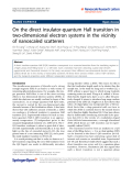 """Báo cáo hóa học: """" On the direct insulator-quantum Hall transition in two-dimensional electron systems in the vicinity of nanoscaled scatterers"""""""