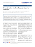 """Báo cáo hóa học: """" Characterization of silicon heterojunctions for solar cells"""""""