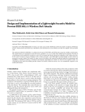 """Báo cáo hóa học: """" Research Article Design and Implementation of a Lightweight Security Model to Prevent IEEE 802.11 Wireless DoS Attacks"""""""
