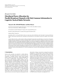 """Báo cáo hóa học: """" Research Article Distributed Power Allocation for Parallel Broadcast Channels with Only Common Information in Cognitive Tactical Radio Networks"""""""